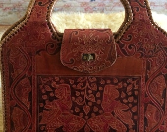 Leather ethnic purse/tooled ethnic purse/tooled purse