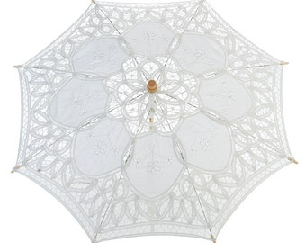 "22"" White Lace Parasol Umbrella Wedding 24LCP-WH"