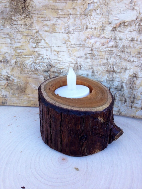 Natural rustic wooden candle holders tea light holder rustic for Rustic wood candle holders