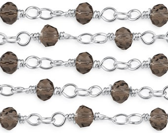 Silver Plated Smokey Brown 4 mm Glass Beads Wire Wrapped Chain (CHB100107)