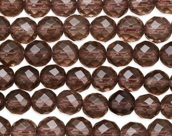 15 1/2 IN Strand 8 mm Smokey Quartz Faceted Round Gemstone Beads (SMQRNF0008)