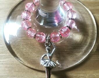 Handmade ballerina wine glass charm