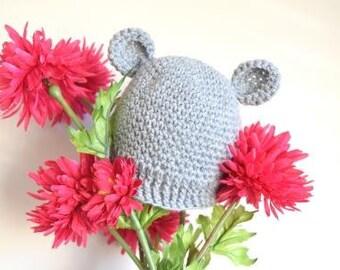 Grey Baby Beanie with Bear Ears