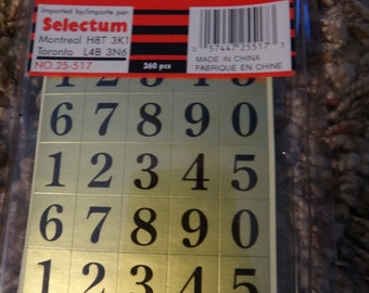 Free Shipping!!  Selectum Self-Adhesive Numbers for Scrapbooks & Cards - Gold Background with Black Numbers - #25-517 - New in package - S2