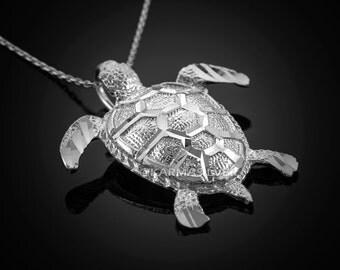 925 Sterling Silver Sea Turtle Pendant Necklace