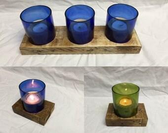 Wooden Wine Bottle Tea Lights, Wood and wine tea light holder,