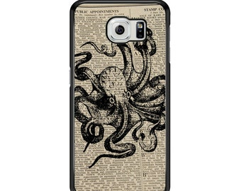 Octopus On Newspaper for Samsung Galaxy S3 / S4 / S5 / S6 / S6 Edge / S6 Edge Plus / S7 / S7 Edge Samsung Galaxy Phone Cover - Case
