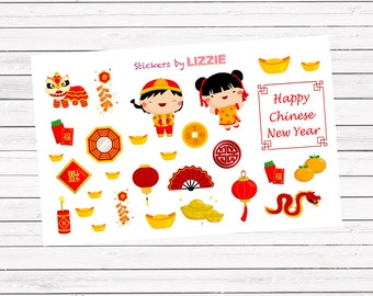 30 Chinese New Year theme decorating || Kiss-cut planner stickers