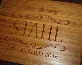 Bamboo Cutting Board Custom Wedding Gift