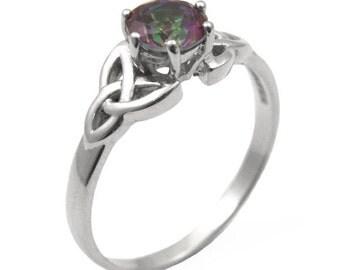 Trinidad nudo anillo 1ct topacio místico único diamante plata (SS216MT)