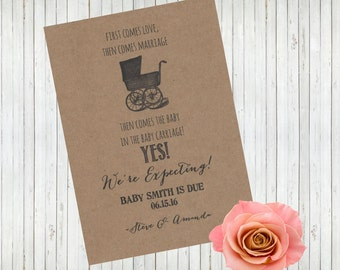 Pregnancy Announcement Cards, First Comes Love, Then Comes Marriage, Baby Carriage, Pregnancy Reveal, We're Expecting, Baby on the way