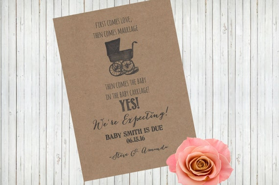 Pregnancy Announcement Card: We're Expecting Pregnancy Announcement Printable