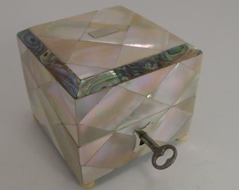 Superb Antique English Mother of Pearl and Abalone Scent Bottle Box c.1860