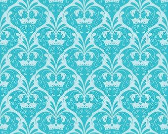 Dream Damask Blue Crowns from Riley Blake by the Half Yard