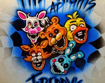 Five Nights at Freddy custom airbrushed T-Shirt Customized with your name any color Freddy, Bonnie, Mangle, Foxy FREE SHIPPING!