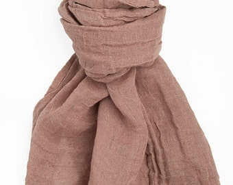 SPECIAL OFFER -  Linen Light Brown Scarf, Eco Scarf, Natural Linen Scarf