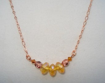 """Beaded Necklace on Rose Gold Chain 20"""""""