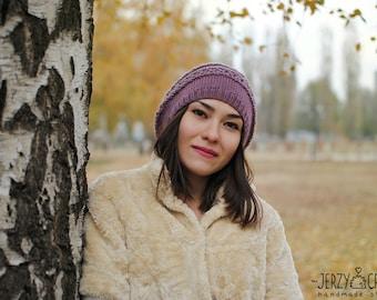 Knit beanie hat Slouchy beanie hat Slouchy beanie hat Knit beanie hat lilac Knit hat natural wool Knit beanie hat openwork Winter knit hats