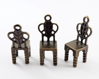 Free Shipping - 5 pieces - 3D Chair Charms Pendants Antique Bronze - C2B.33