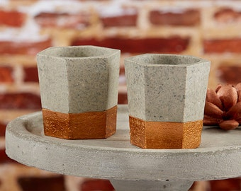 Copper And Concrete Themed Geometric Tealight Holders (Set of 8)