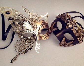 Luxury Venetian Carnival Metal Black Gold Butterfly masquerade mask for Masquerade Wedding Anniversay costume party