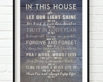 In this house our Family Christian Bible Verse Rules ART PRINT, UNFRAMED, Scripture Inspirational wall & home decor sign