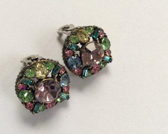 Hollycraft pastel earrings - date stamped 1955