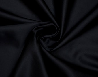 SALE Black Silk-Cotton Satin Fabric By the Yard
