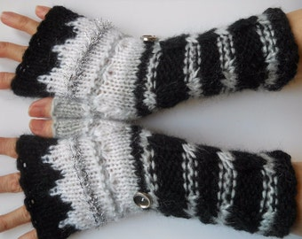 HAND KNITTED GLOVES / Fingerless Mittens Cabled Romantic Striped Warm Accessories Women Elegant Feminine Wrist Warmers Winter Gift Ideas 579