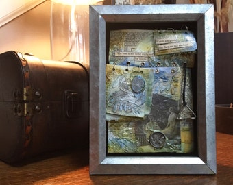 Mixed Media Shadowbox Art, Goethe Quote Artwork