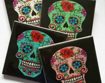 Sugar Skull Handcrafted Ceramic Coasters. Day of the dead. Halloween. Roses. Skull. Calavera. Dia de los Muertos.
