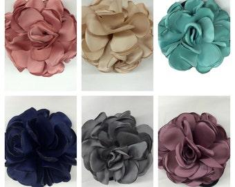 Layered Satin Flower Burned Edges Satin Rose/Hair Flower/Brooch Pin/Fabric Flower/Applique Handmade/Floral Supply/Embellishment