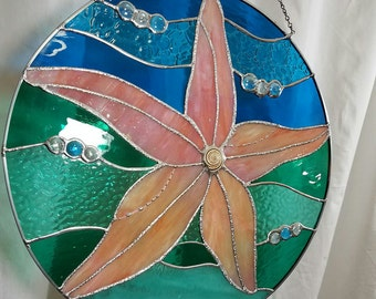 Starfish Wave 16 Inch Stained Glass Panel with Spiral Shell in Flamingo Pink/Tangerine/Aqua/Teal/Turquoise-One of a Kind