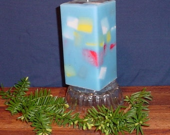 Blue paraffin and soy wax square chunk pillar candle