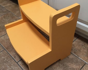 """Kids (taller) wooden 2-step stool with 16"""" top step height.  Single color ."""