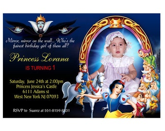 Digital File - Disney Princess Snow White Birthday Party Photo Invitations