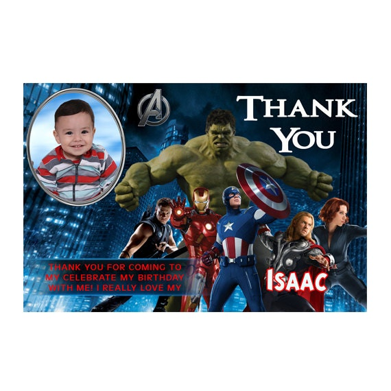 avengers birthday thank you card printable or printed