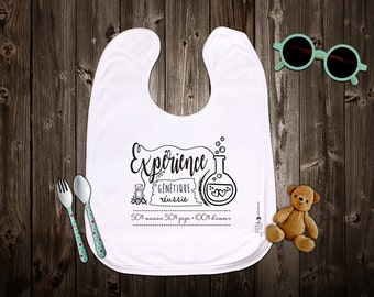 """Customizable original bib """"Successful genetic experiment"""". Birth gift. Baby gift. Text and graphics by Piou creations."""