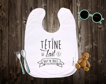 """Customizable mixed original bib """"pacifier, milk & burp ' n roll"""" baby shower gift. Baby gift. Text and graphics by Piou creations."""