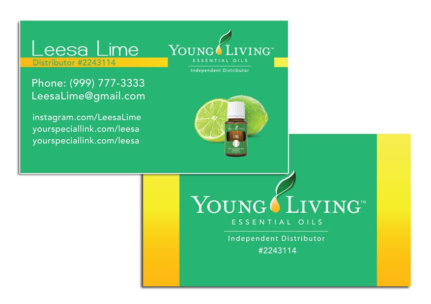 Lime Oil Young Living Business Cards by VividLegacy on Etsy