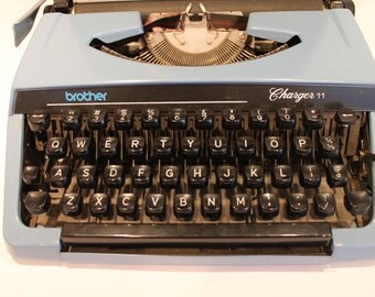 Vintage Blue Brother Typewriter - 1970's Brother Charger 11 - Typewriter with Case