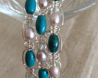 Turquoise, Pearl, and Green Amethyst Bracelet