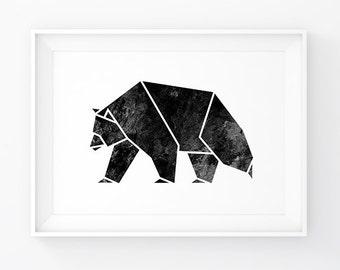 Geometric Bear, Wall Decal Woodland, Bear Print, Geometric Animal, Scandinavian Modern, Animal Art, Bear Printable, Black Art, Wall Art