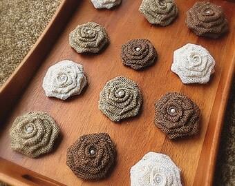 6 Burlap Rosettes -Burlap Roses - Fabric Flowers - Rustic Wedding Flowers - Tan, Ivory and Chocolate Brown Burlap Roses - Decorative Flowers