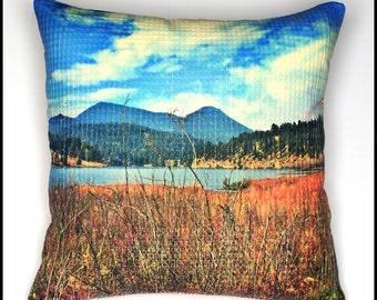 "Colorado landscape throw pillow cover, Colorado wilderness, waffle textured designer cotton fabric, 18""x18"""