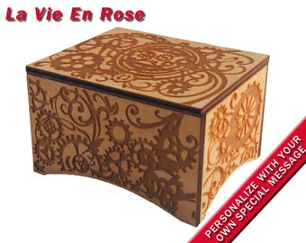 "Windup Steampunk Music Box, ""La Vie En Rose"", Laser Engraved Birch Wood"