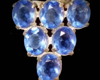 Unsigned 1930's Blue Stone Brooch
