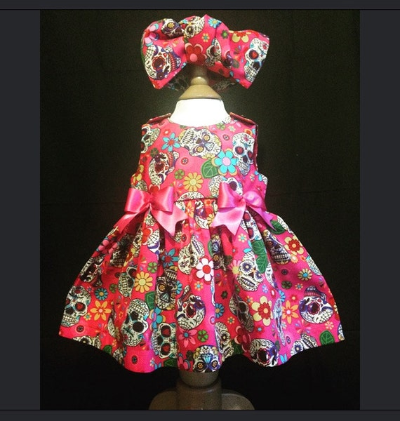 Skeletots pink sugar skulls dress goth rock baby girl ages 2-6 years