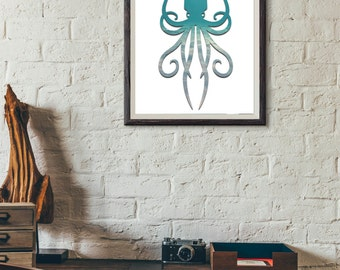 Printable Wall Art, Squidly Print