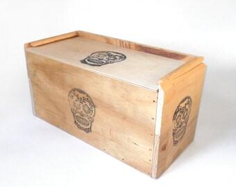 Handmade Wooden Skull Box